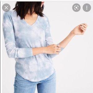 AMERICAN EAGLE Soft & Sexy Ribbed Tie Dye V-Neck Long Sleeve Top Sz Lg